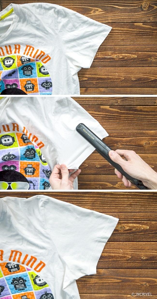 Chapinha de cabelo serve para passar roupas levemente amassadas (Reprodução/Incrível)