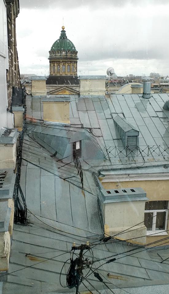 Вид на купол Казанского собор с крыши дома Зингера