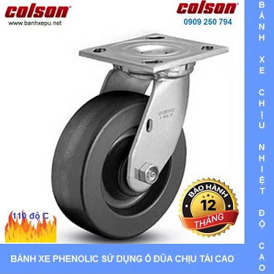 Bánh xe Phenolic chịu nhiệt càng xoay 5 inch Colson Mỹ | 4-5109-339 www.banhxedayhang.net