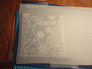 Parchment with frame, peace, snowflakes