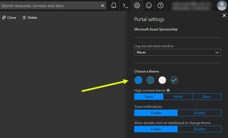 How to quickly change the Theme in Microsoft Azure Portal?