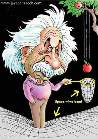 تحدث الكتلة إنحناءاً في نسيج الزمكان مسببة الجاذبية - نظرية نيوتن