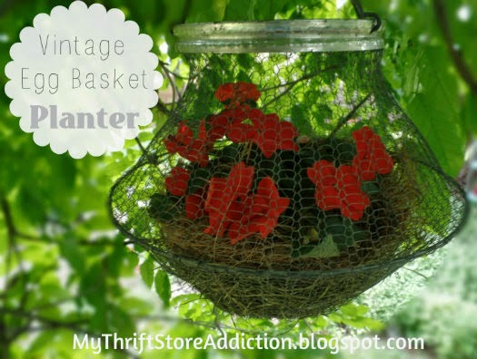Repurposed vintage egg basket planter