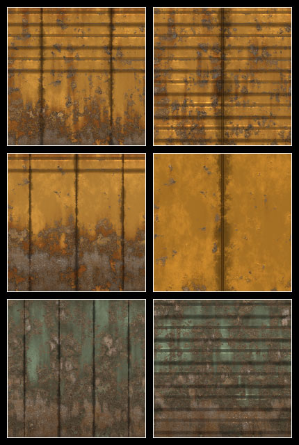 Yellow Rusty Wall Panels Seamless Tiling Patterns