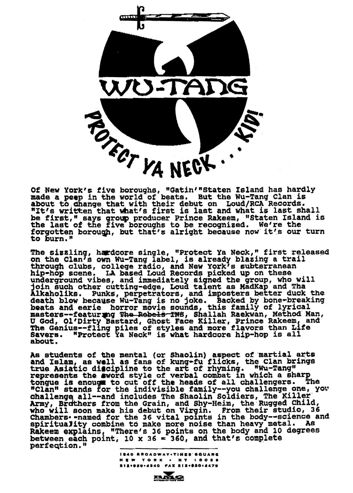 Wu-Tang Clan Original Press Kit Loud BMG