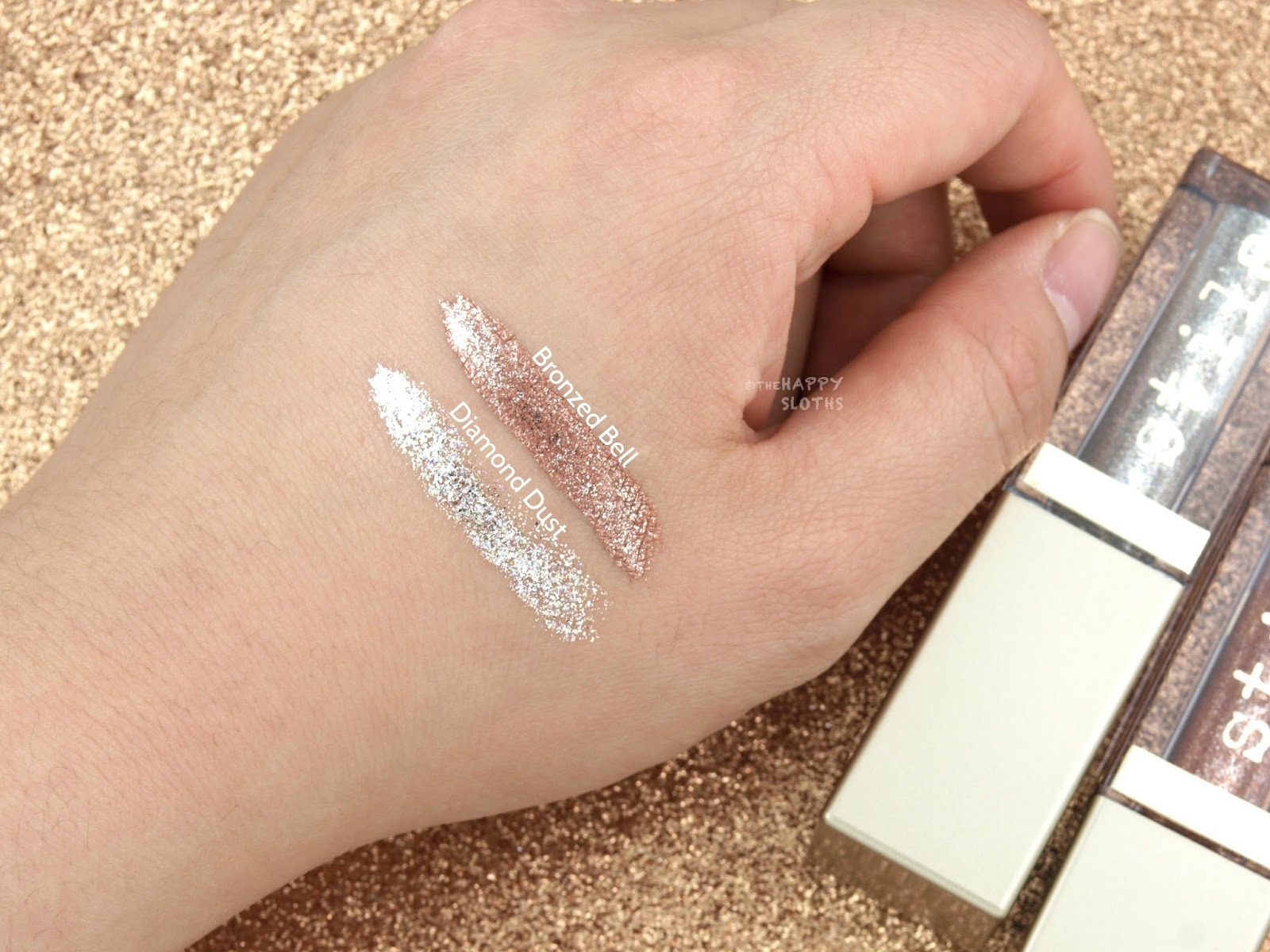 "Stila Magnificent Metals Glitter & Glow Liquid Eye Shadow in ""Bronzed Bell"" & ""Diamond Dust"": Review and Swatches"
