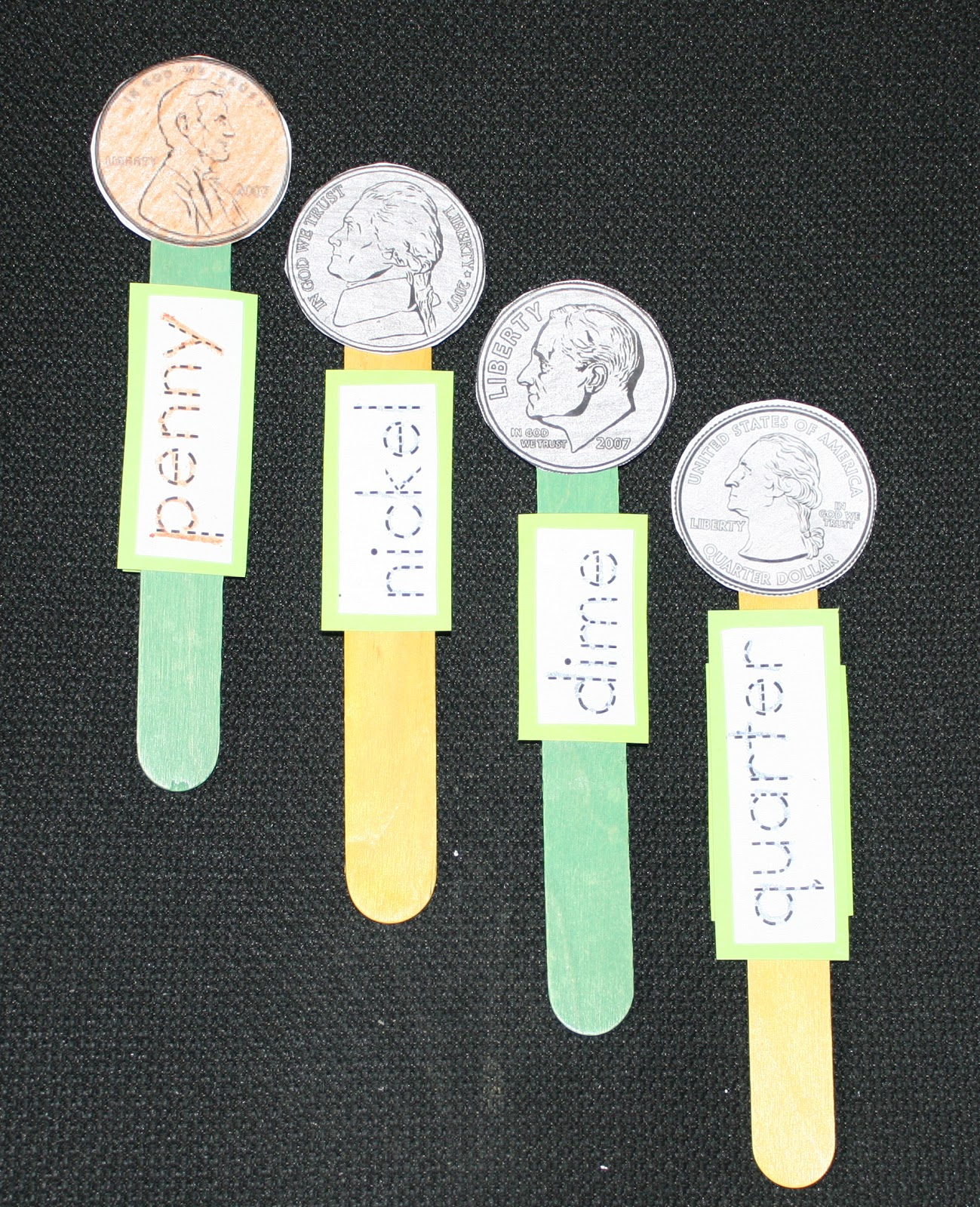 Coin Popsicle Stick Puppets - Classroom Freebies