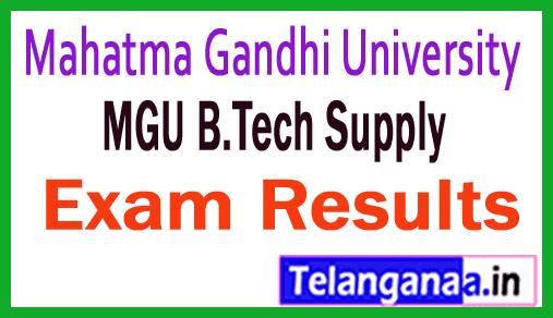 MGU B.Tech Supply Exam Results