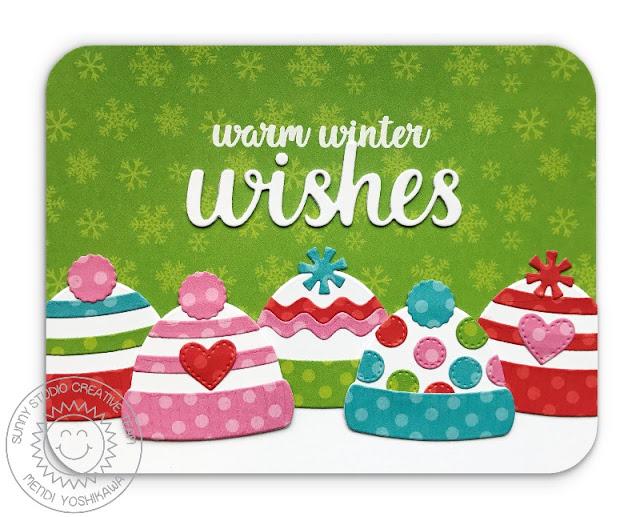 Sunny Studio Stamps: Warm & Cozy Warm Winter Wishes Hat Christmas Card by Mendi Yoshikawa