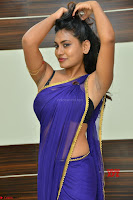 Actress Priya in Blue Saree and Sleevelss Choli at Javed Habib Salon launch ~  Exclusive Galleries 025.jpg