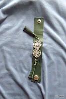 LoveLea's dark green leather bracelet with metal medallions&tassels.