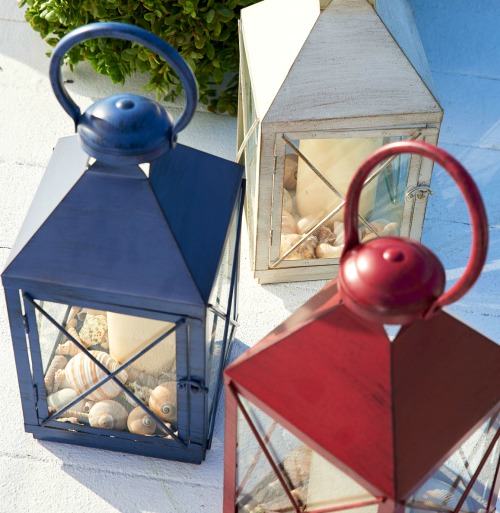 Blue, Red and White Metal Candle Lanterns