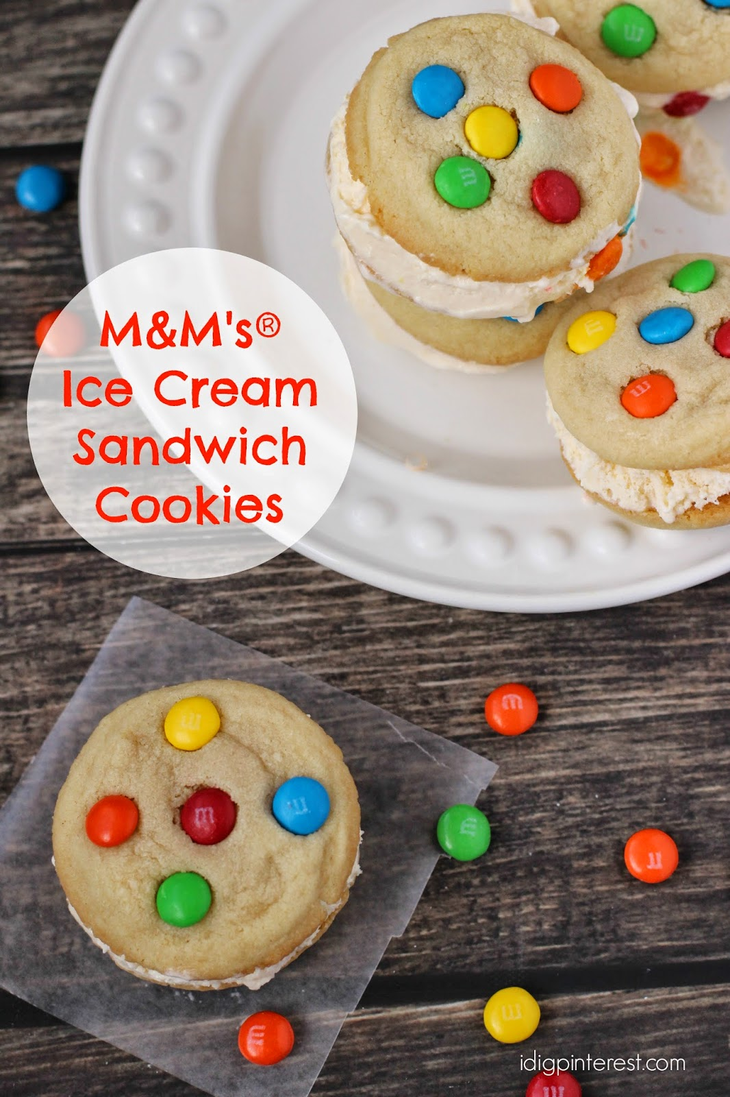 This version made out of ice cream sandwiches takes the cake, literally, because the layers are almost pre-made for you. Simple and pretty when cut and served, it will be love at your first creamy bite. Here is what you need: ice cream sandwich cakes, M & M's, hot .