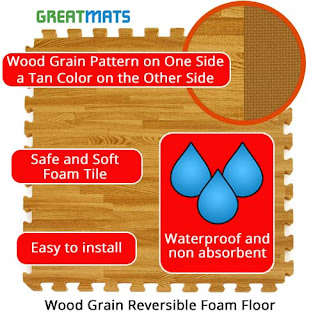 Greatmats wood grain foam tile reversible