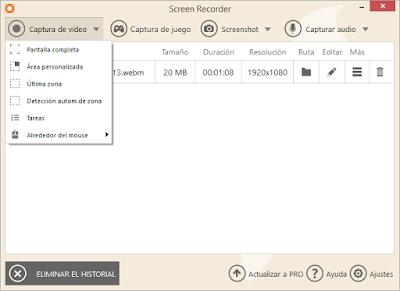 Capturas de pantalla, grabación en video de tu pantalla y grabar videojuegos