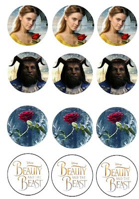 Free printable beauty and the beast 2017 cupcake toppers