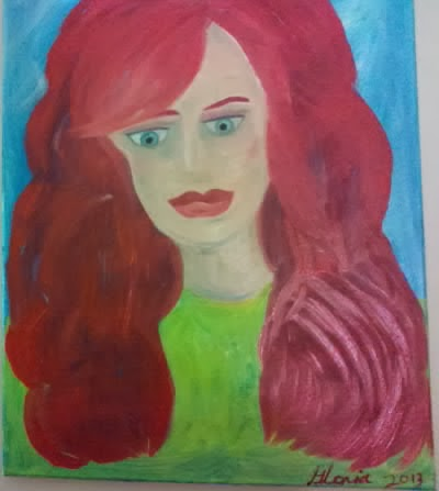 "Oil painting painted by Gloria Poole & named ""irish student"" in ethnic series."