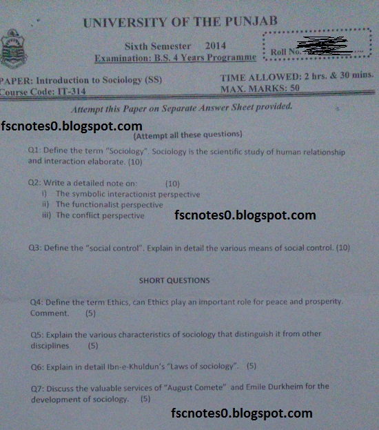 BS (Hons) IT Information Technology Past Papers Semester 6 Introduction to Sociology (SS) 2014 Asad Hussain