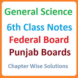 All Pakistan Federal Board Punjab Board Solved Notes 6th Class General Science Chapter Wise