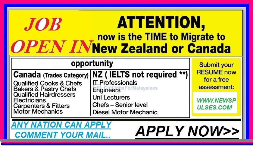 JOBS IN NEW ZEALAND & CANADA    !! - News Pulses