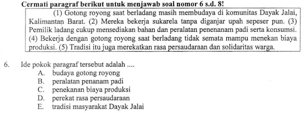 Pembahasan Soal Un 2016 2017 Bahasa Indonesia Ide Pokok Paragraf