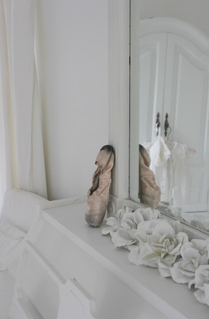 White piano with a pointe shoe and plaster roses - Hello Lovely Studio
