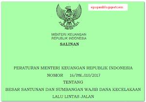 Besar Santunan Jasa Raharja Peraturan Menteri Keuangan (PMK) Nomor: 16/PMK.010/2017