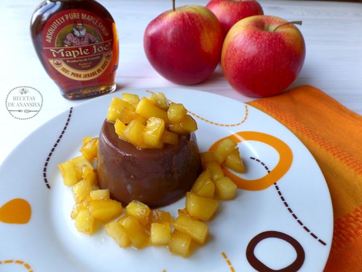 Flan de chocolate Milka con manzana y sirope de arce