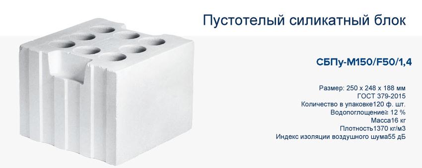 Пустотелый силикатный блок