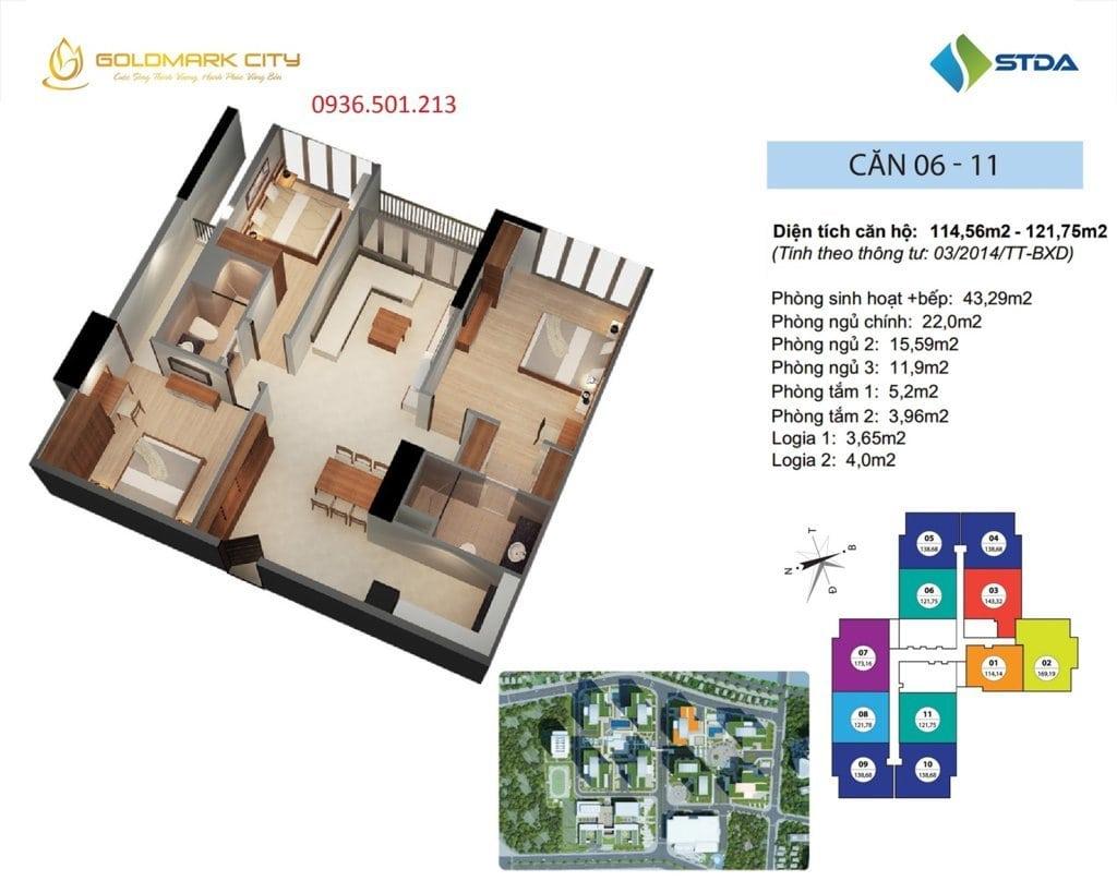 Mặt bằng căn hộ số 06 và 11 tại Ruby 1- Dự án Goldmark City