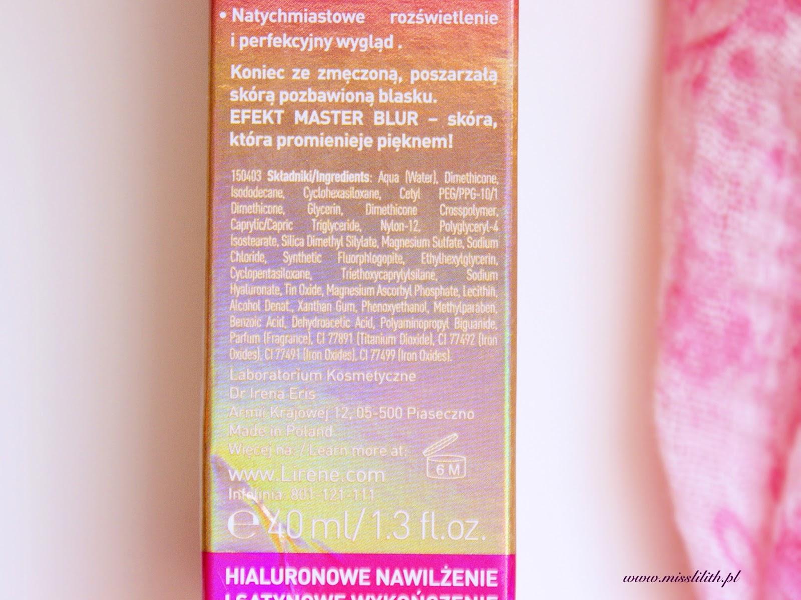 Matujący krem BB z kwasem hialuronowym Master Blur Lirene