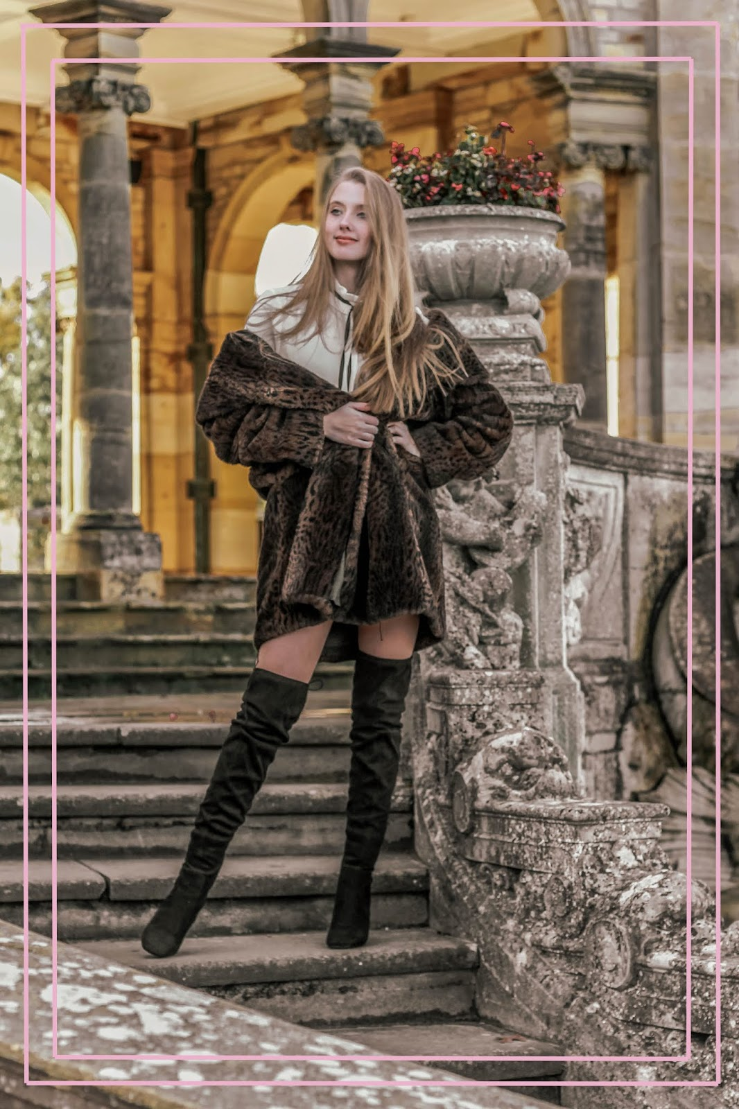 brown fur coat and over the knee suede boots