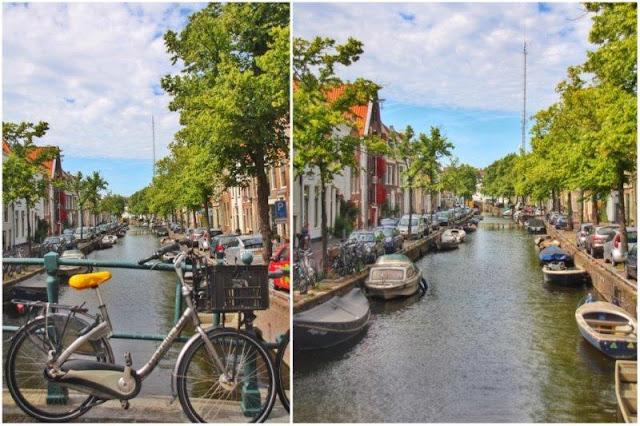 Bici en puente sobre canal, canal en Haarlem
