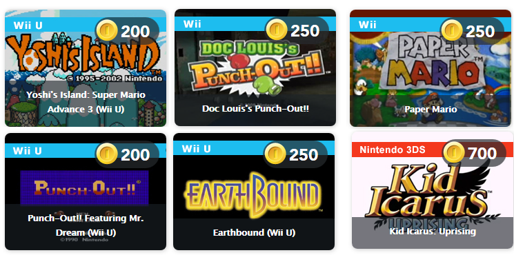Yoshi's Island: Super Mario Advance 3, Doc Louis's Punch-Out!!, Paper Mario, Punch-Out!!: Featuring Mr. Dream, EarthBound, and Kid Icarus: Uprising. Club Nintendo