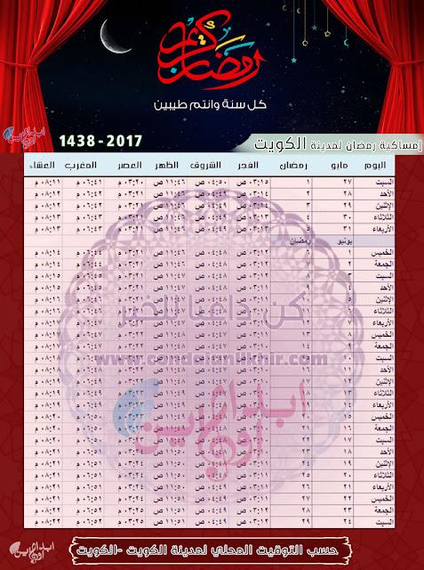 إمساكية رمضان 2017 - 1438 لجميع الدول العربية والتوقيت المحلي لكل مدينة Ramadan-Kuwait-Time-1438
