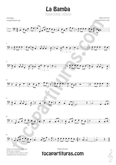 La Bamba Sheet Music for Cello and Bassoon Music Scores Clave de Fa