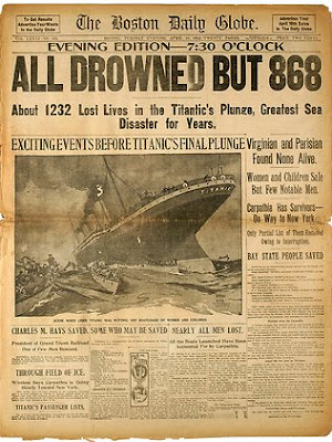 front page story about sinking of Titanic