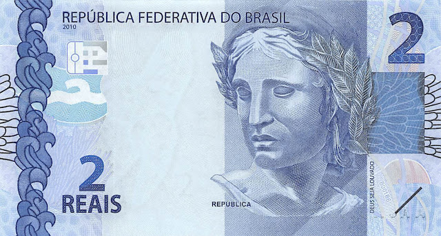 Brazilian Currency 2 Reals banknote 2010 Effigy of the Republic