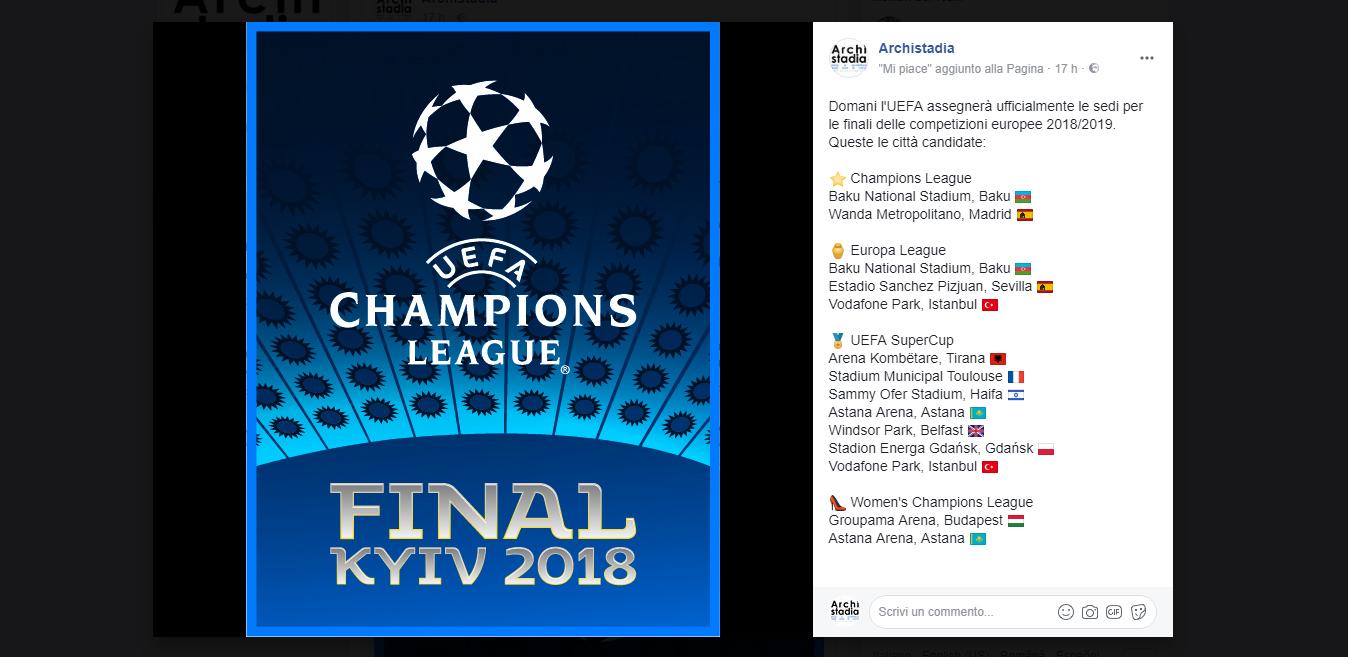 sedi ufficiali uefa champions europa league 2019
