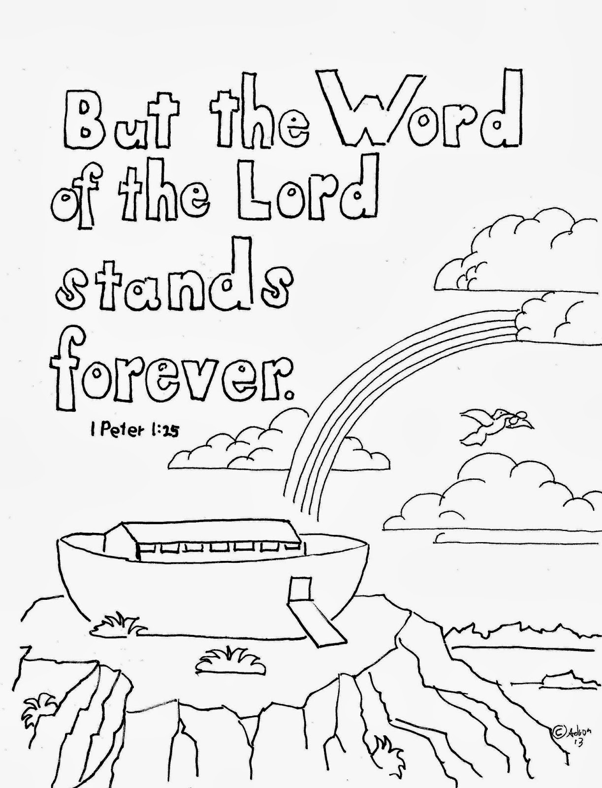 Coloring Pages For Kids By Mr Adron 1 Peter 1 25 Print And Color Page With Noah S Ark Free