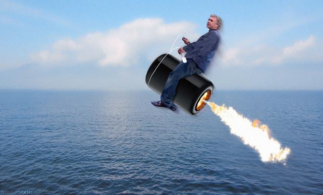 Phil Schiller rides a jet powered 2013 Mac Pro (