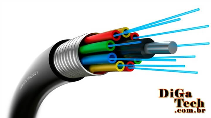 Internet banda larga alta velocidade fibra óptica