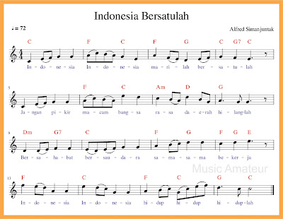 notasi balok indonesia bersatulah lagu wajib