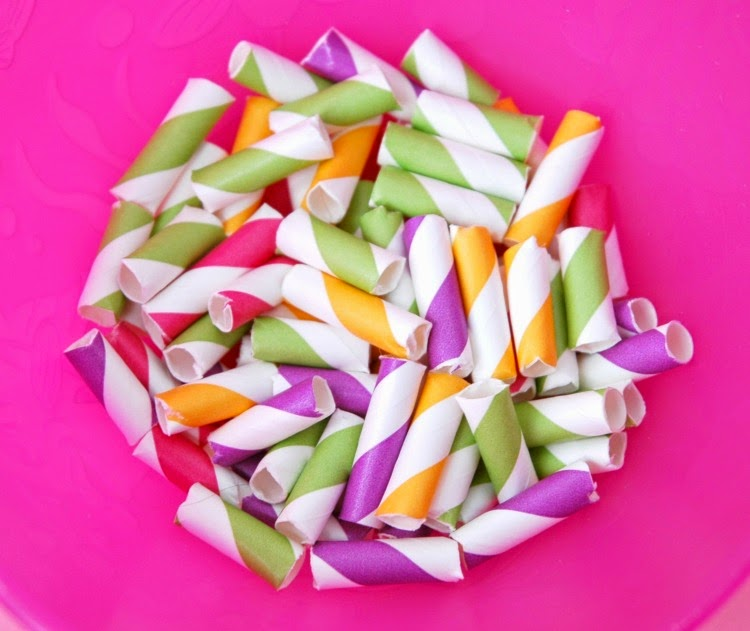 paper straws cut into small pieces