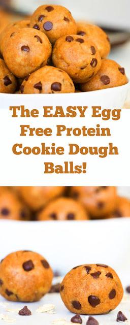 The EASY Egg Free Protein Cookie Dough Balls! #easysweettreat #dessert #healthydessert #cookie #cookieballs #energybites #glutenfree #sweettreat #eggfree #protein #cookiedough