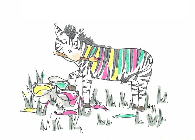Cuento de una cebra con rayas de colores