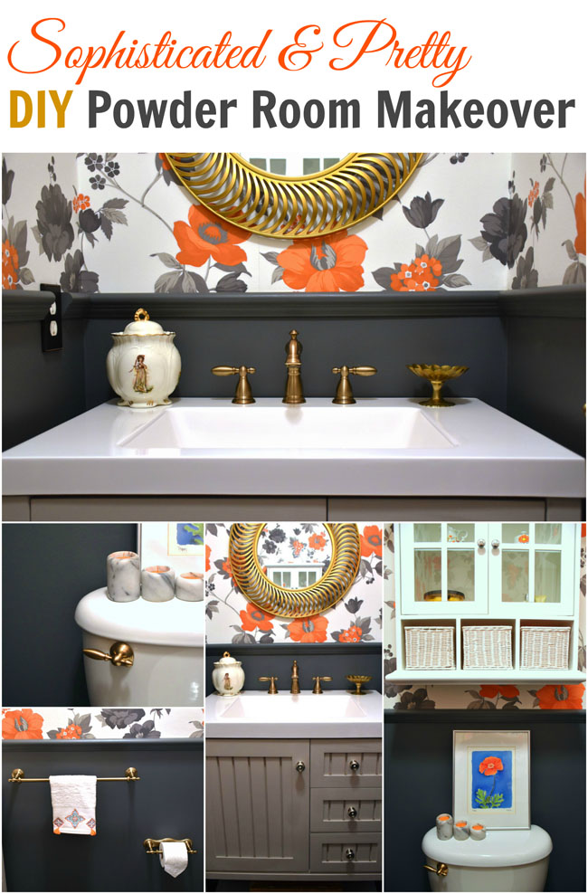 Sophisticated & Pretty Powder Room Makeover - diy on a budget