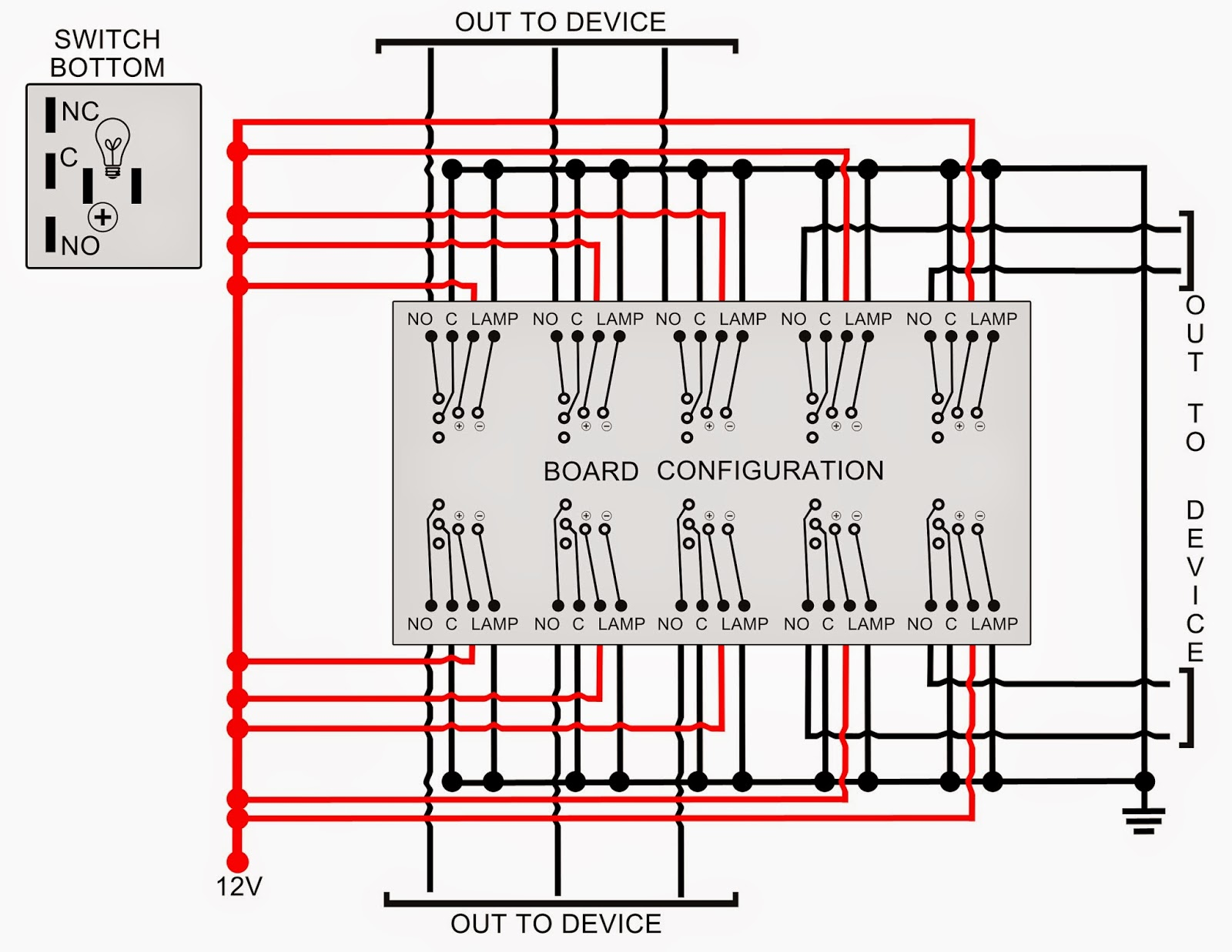 12v rocker switch wiring diagram 1977 fj40 my knight rider 2000 project diagrams and schematics