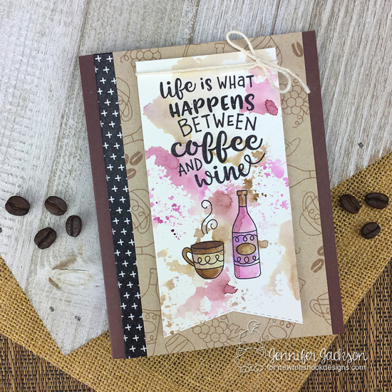 2018 National Coffee Day Blog Hop | Coffee Card by Jennifer Jackson using Coffee & Wine Stamp Sets by Newton's Nook Designs #newtonsnook #handmade