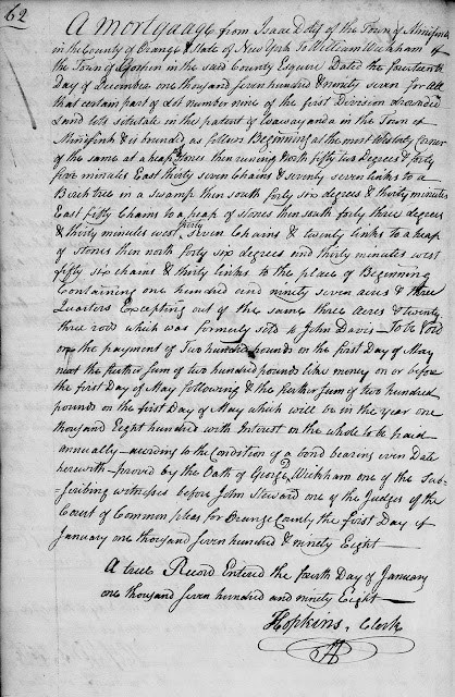 Isaac Doty 1797 mortgage to William Wickham, Orange Co., NY
